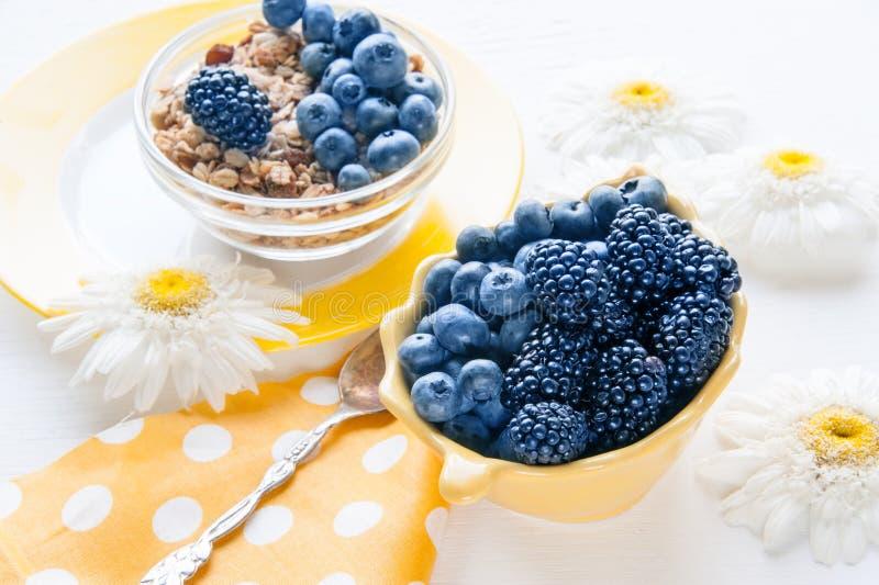 Authentisches gesundes Getreide, Blaubeeren, Brombeeren und muesli mit Frucht und Nüssen Kopieren Sie Platz lizenzfreie stockbilder