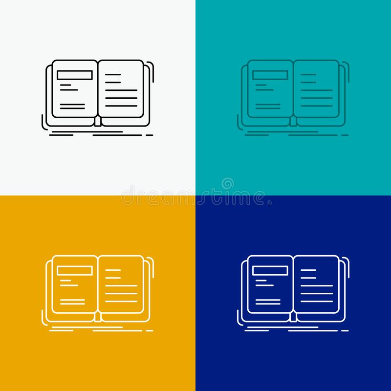 Author, book, open, story, storytelling Icon Over Various Background. Line style design, designed for web and app. Eps 10 vector. Illustration. Vector EPS10 stock illustration