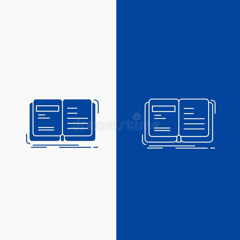 Author, book, open, story, storytelling Line and Glyph web Button in Blue color Vertical Banner for UI and UX, website or mobile. Application. Vector EPS10 royalty free illustration
