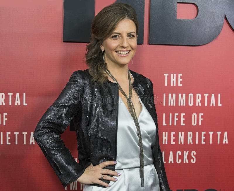 Author and Co-Executive Producer Rebecca Skloot. Stylish, chic, Rebecca Skloot arrives for the New York premiere of `The Immortal Life of Henrietta Lacks royalty free stock photos