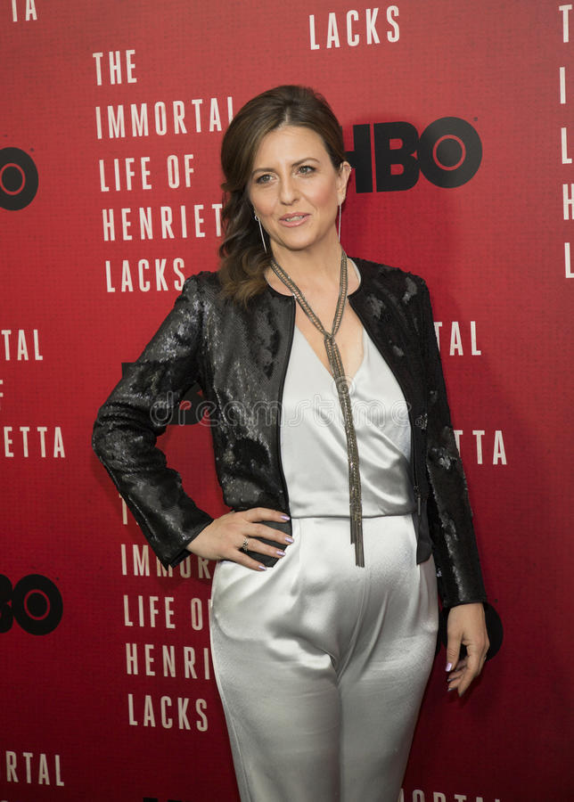 Author and Co-Executive Producer Rebecca Skloot. Stylish, chic, Rebecca Skloot arrives for the New York premiere of `The Immortal Life of Henrietta Lacks stock images