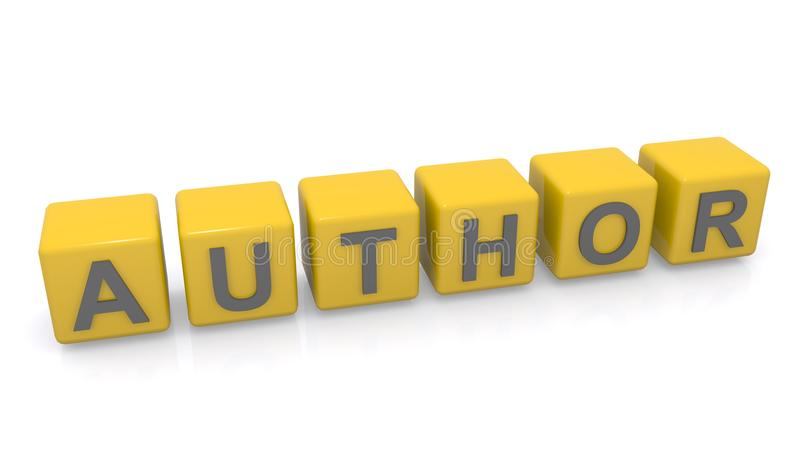 Author. In grey text on yellow toy blocks against white royalty free stock images