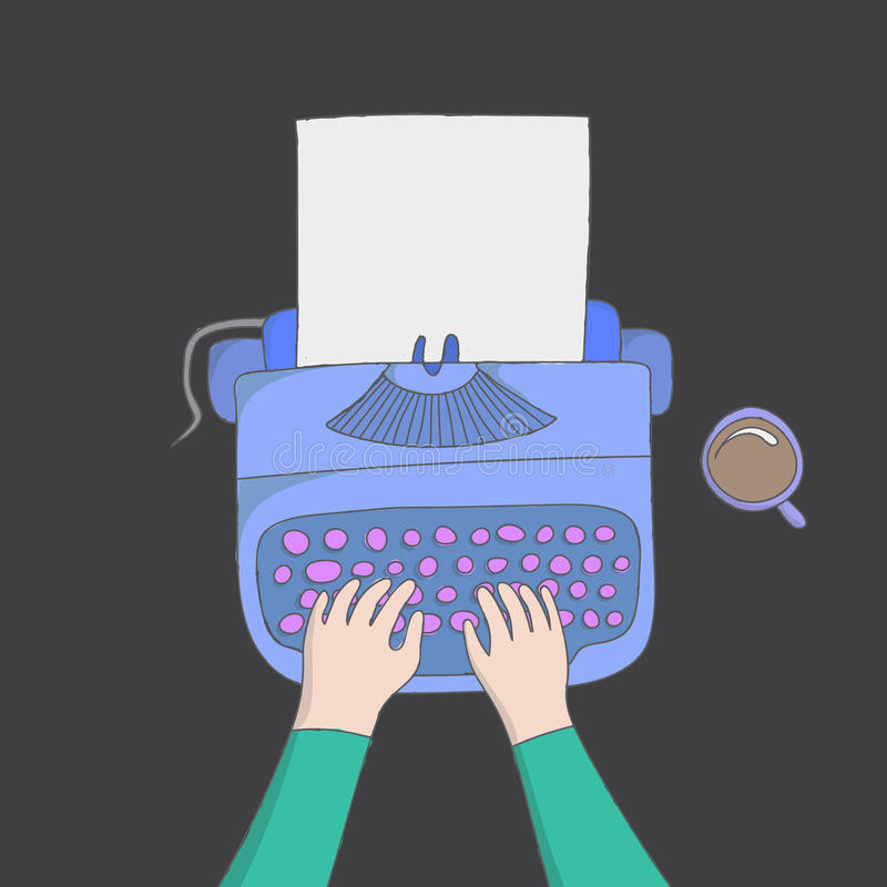 Author hands typing vector illustration