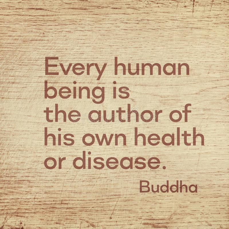 Author of health Buddha wood. Every human being is the author of his own health or disease - famous quote of Gautama Buddha printed on grunge wooden board stock illustration