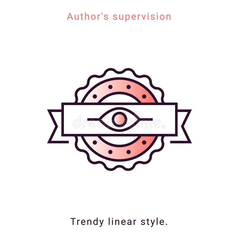 Author supervision icon with vintage eye symbol. Author`s supervision icon in vector line style. Architecture supervision trendy emblem in minimal graphic on royalty free illustration
