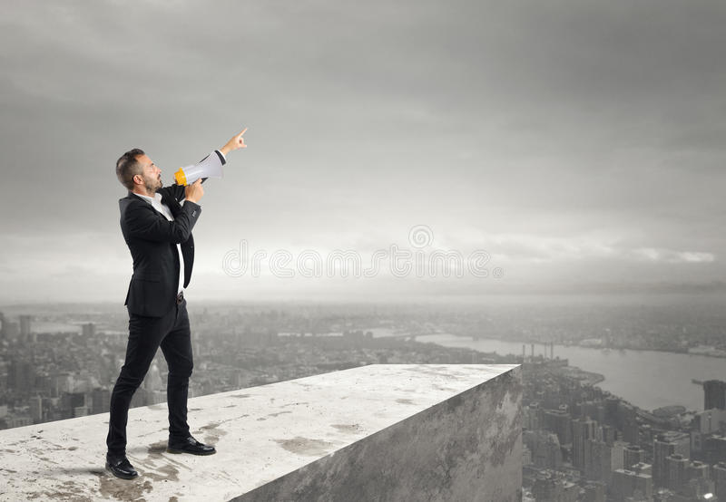 Authoritarian announcement to the megaphone royalty free stock images