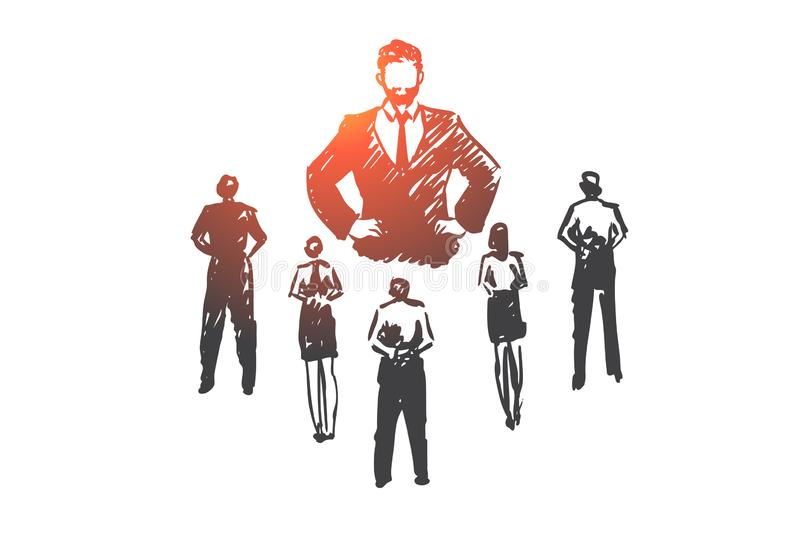 Authoritarian boss, work, dictator, leader, pressure concept. Hand drawn isolated vector. royalty free illustration