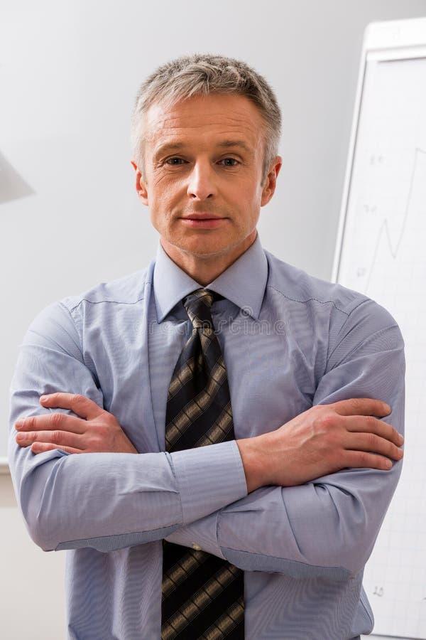 Authoritative boss. Successful man. Sought-after business coach. Authoritative boss royalty free stock image