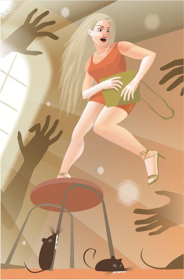 Authorities fear. Girl in danger. Vector illustration stock illustration