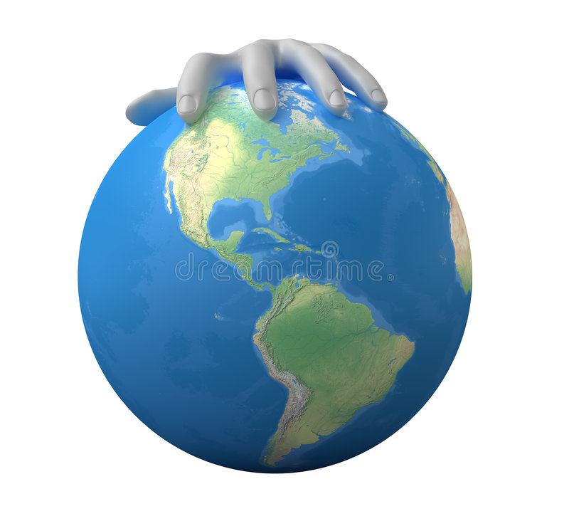 Authority above the world. Image of 3d globe in hand. White background vector illustration