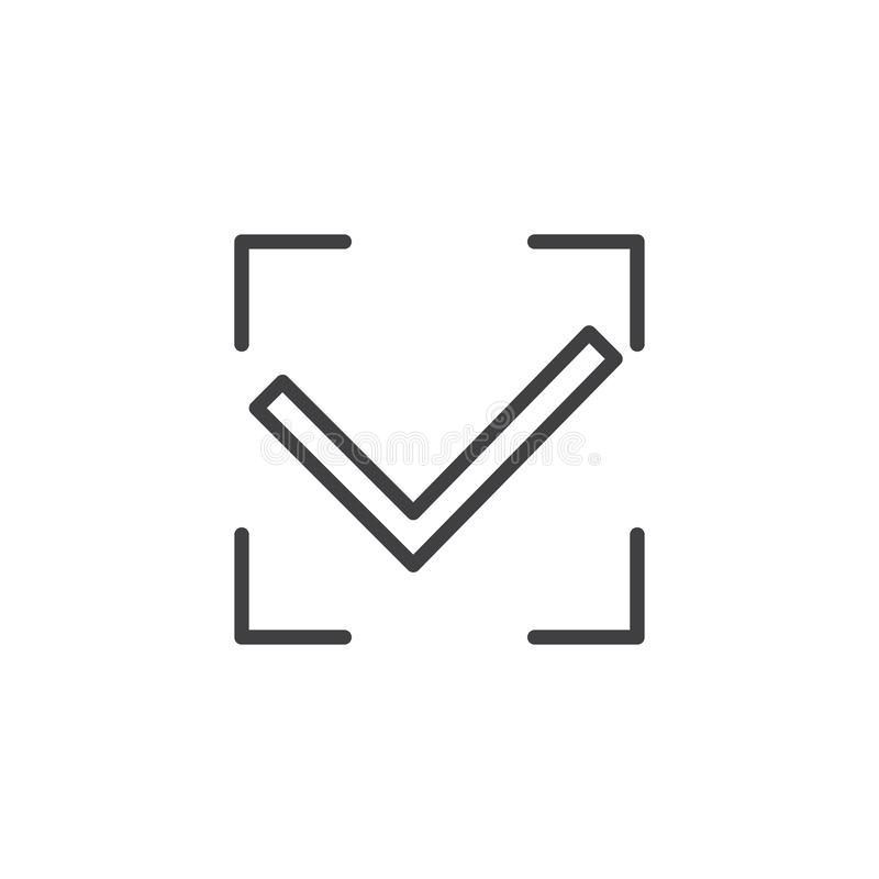 Authorization accepted line icon royalty free illustration