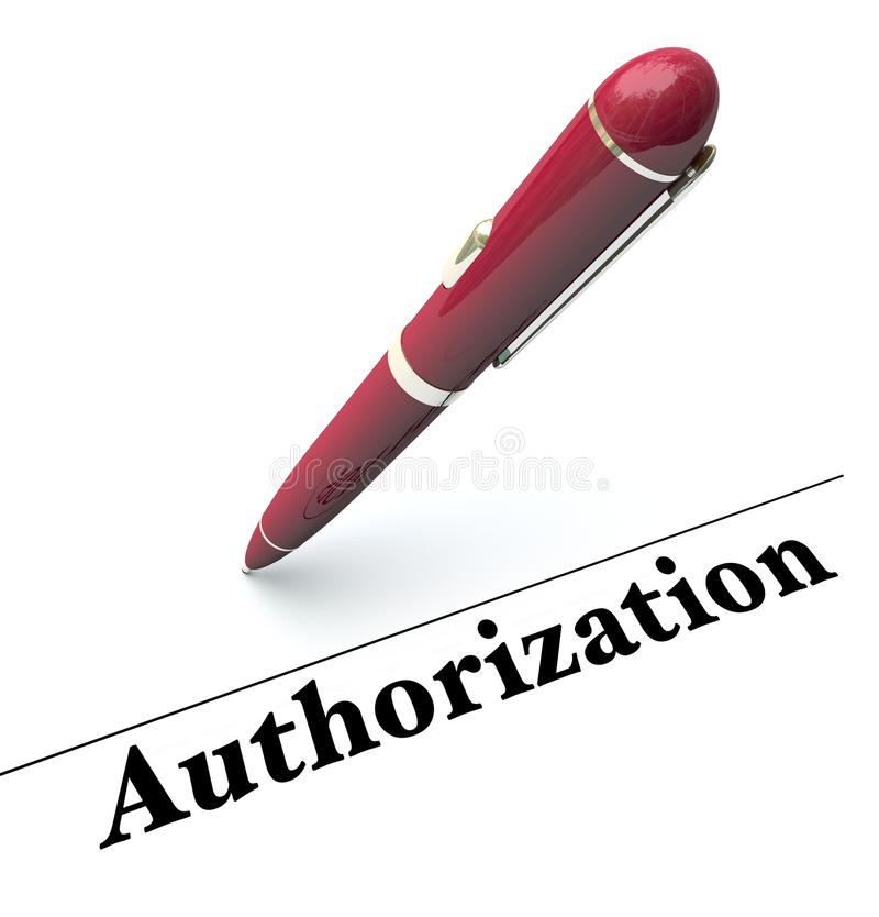 Authorization Pen Signing Approval Official Authority Agreement royalty free illustration