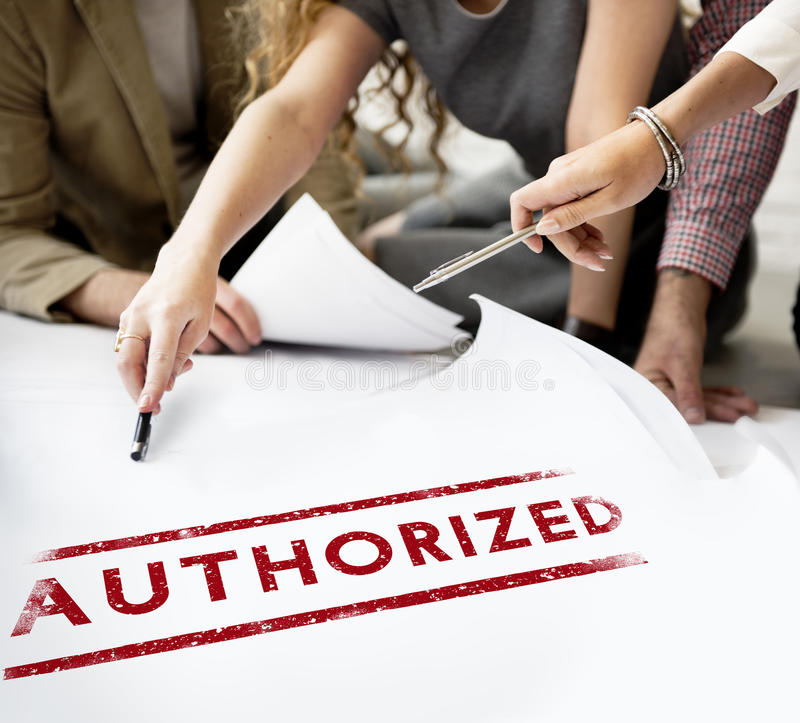 Authorize Allowance Approve Permit Graphic Concept stock photo