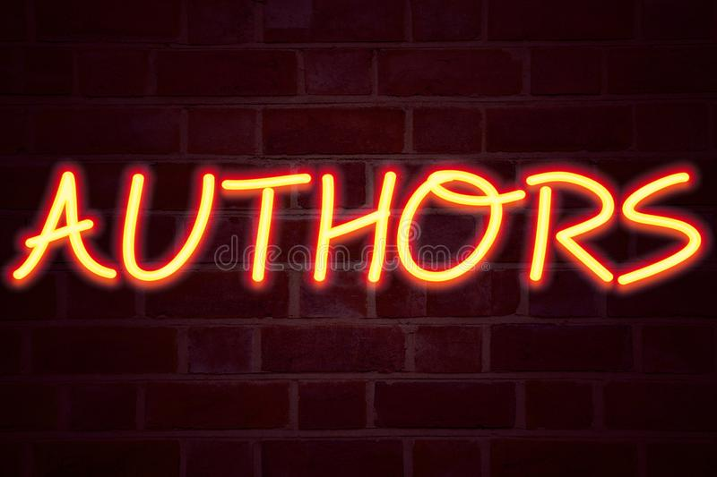 Authors neon sign on brick wall background. Fluorescent Neon tube Sign on brickwork Business concept for Word Message. Text Typography 3D rendered Front View royalty free stock images