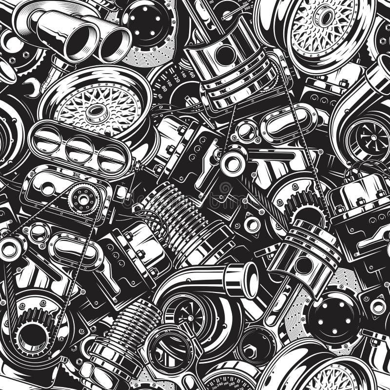 Autimobile samochodowych części bezszwowy wzór ilustracji