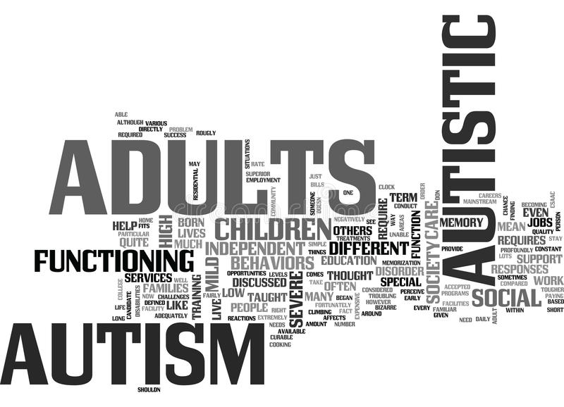 Autism In Adults Not Discussed Quite As Much Word Cloud. AUTISM IN ADULTS NOT DISCUSSED QUITE AS MUCH TEXT WORD CLOUD CONCEPT vector illustration