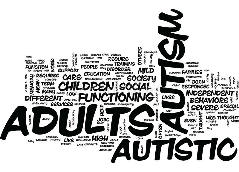 Autism In Adults Word Cloud Concept. Autism In Adults Text Background Word Cloud Concept royalty free illustration