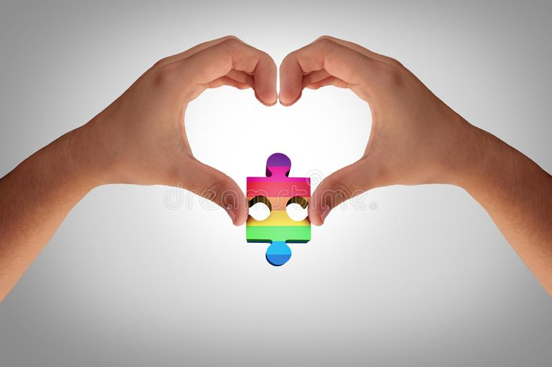 Autism And Autistic Development. Concept as a mental disorder awareness as a symbol of a communication and social behavior psychology as hands holding a puzzle vector illustration