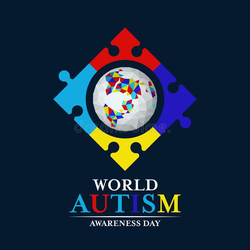 Autism awareness with abstract low polygon earth in Puzzle frmae sign on dark blue background vector design royalty free illustration