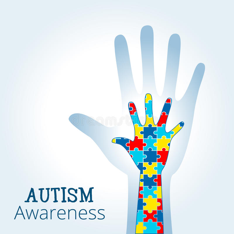 Autism awareness concept with hand of puzzle pieces. As symbol of autism royalty free illustration