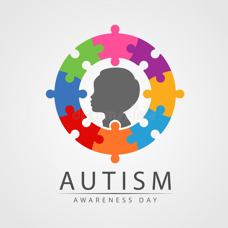 Autism Awareness Day banner with Child in circle colorful jigsaw vector design royalty free illustration