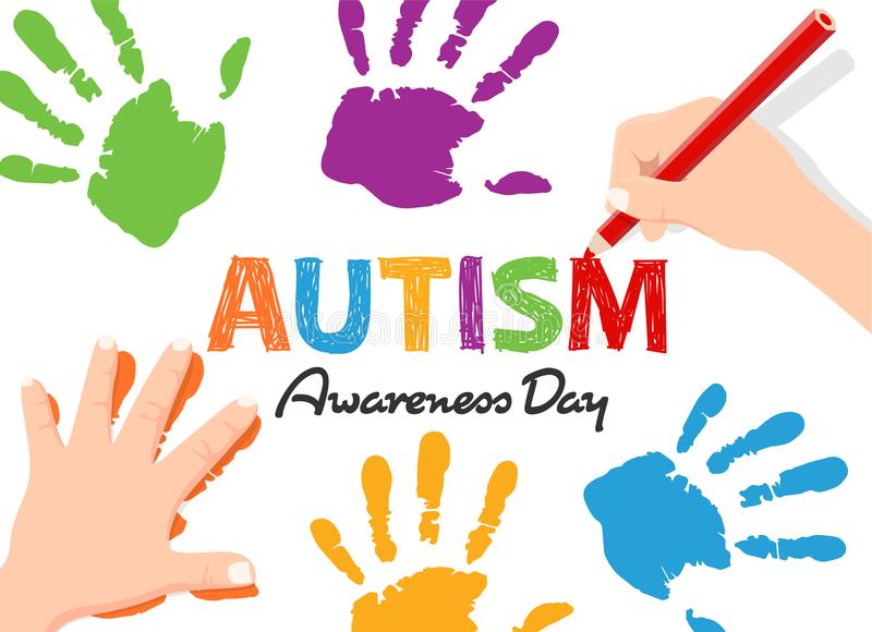 Autism Awareness Day banner with Child`s hand write text and doing Fingerprint vector design vector illustration