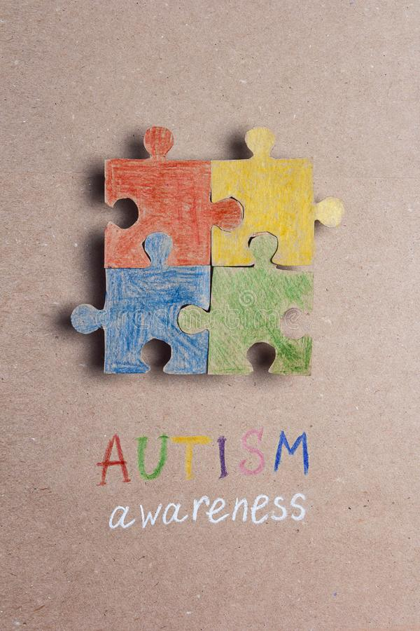 Autism Awareness Day. Colorful puzzle in autism awareness day royalty free stock images