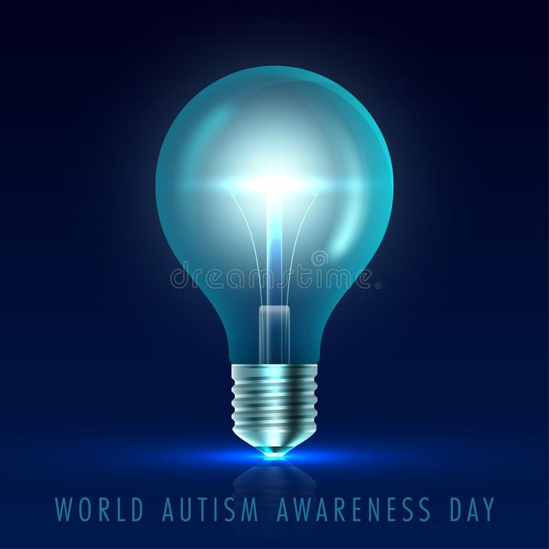 Autism awareness day. Light it up blue. Poster, flyer or banner template. Vector Illustration stock illustration