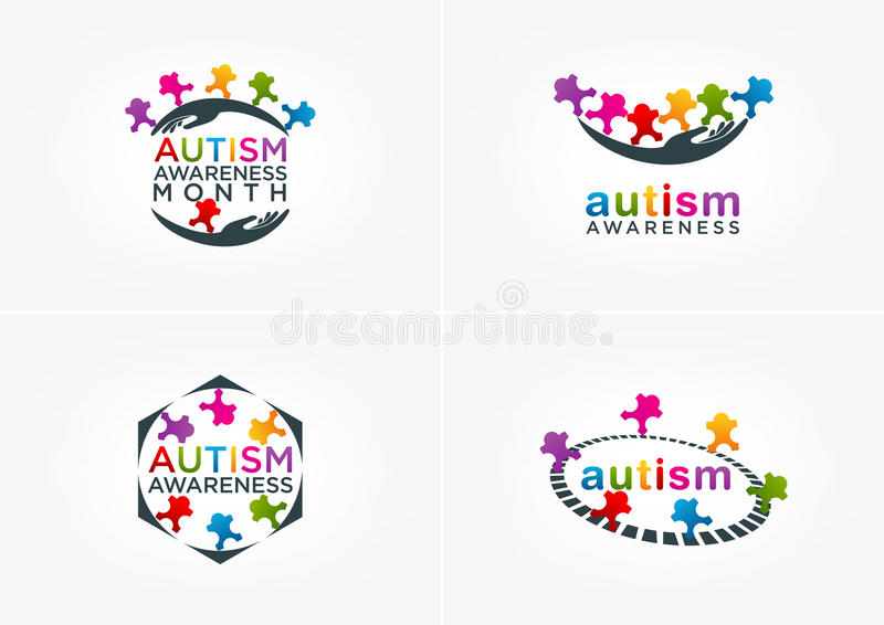 Autism awareness logo design vector illustration