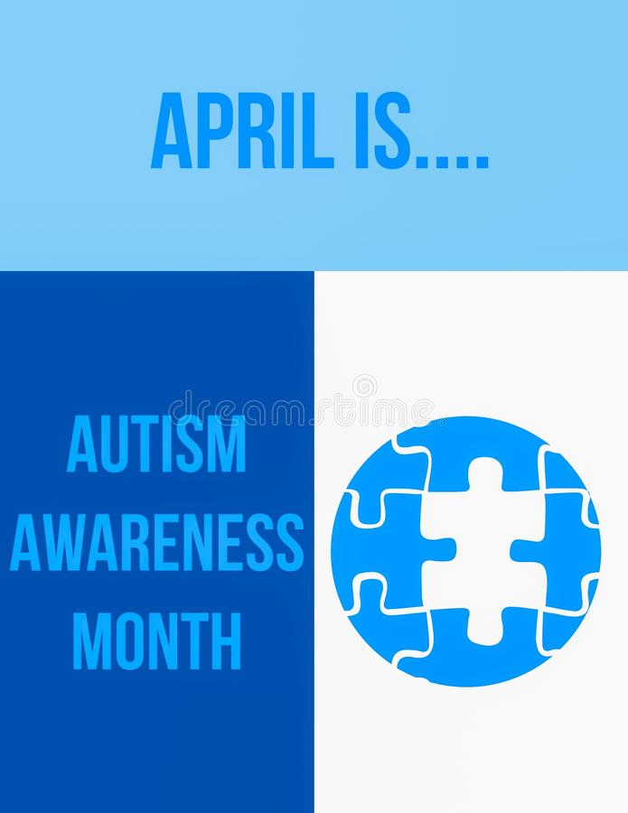 Autism awareness month. April is autism awareness month royalty free illustration
