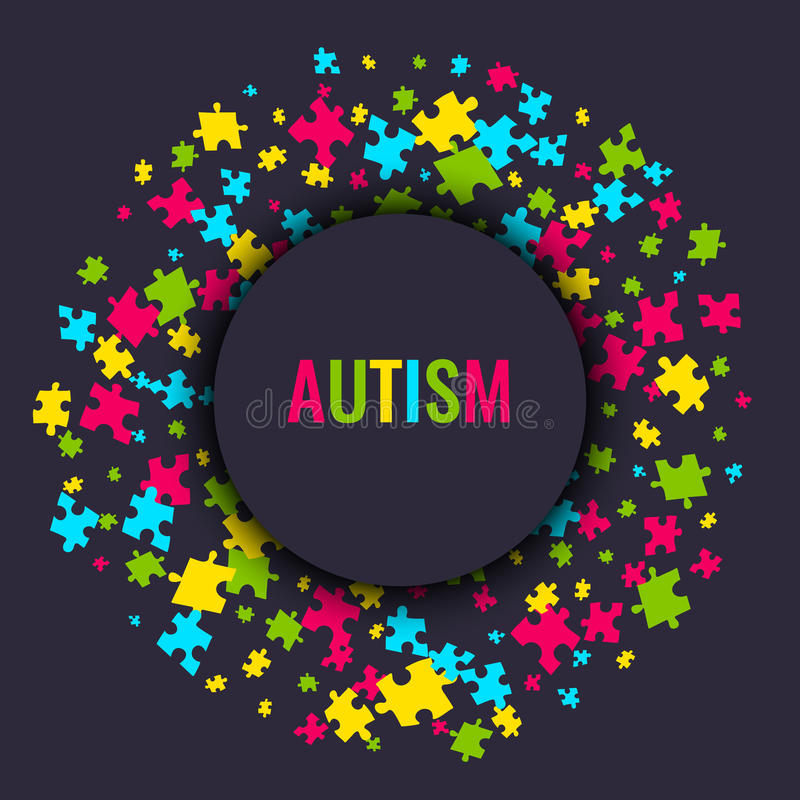 Autism awareness puzzle poster. Autism awareness poster with puzzle pieces in a circle on dark background. Solidarity and support symbol. Medical concept. Vector vector illustration