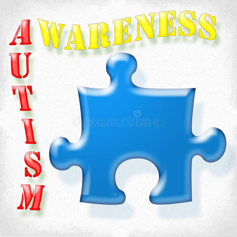 Autism Awareness. Sign with puzzle piece royalty free illustration