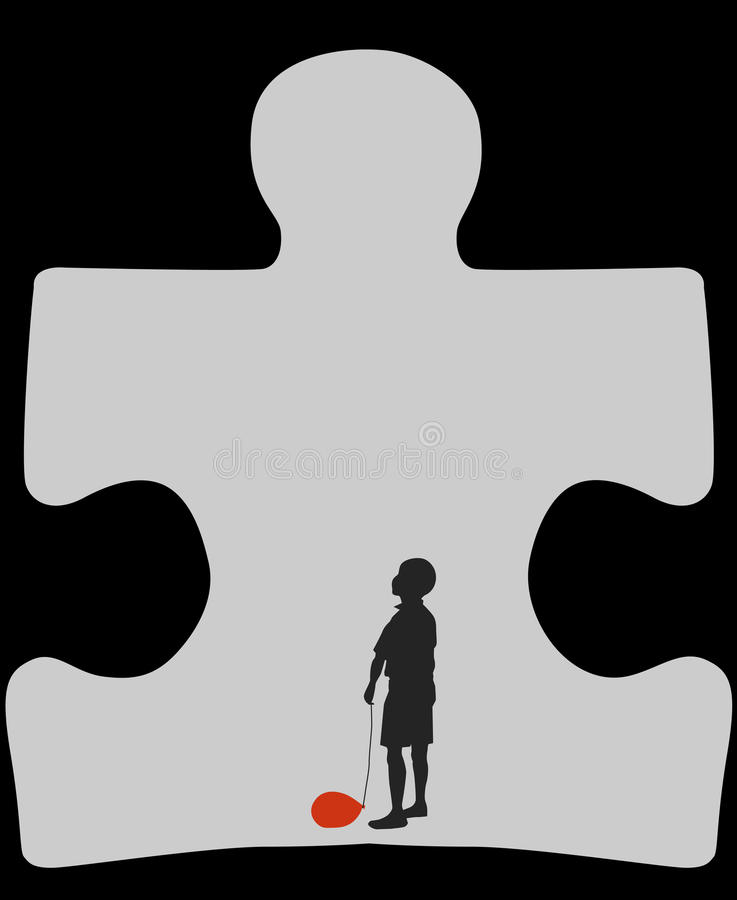 Autism cave. Silhouette of a child with a deflated balloon staying in a cave in a shape of autism symbol