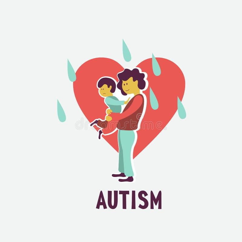 autism El emblema del síndrome del autismo en niños Childr ilustración del vector