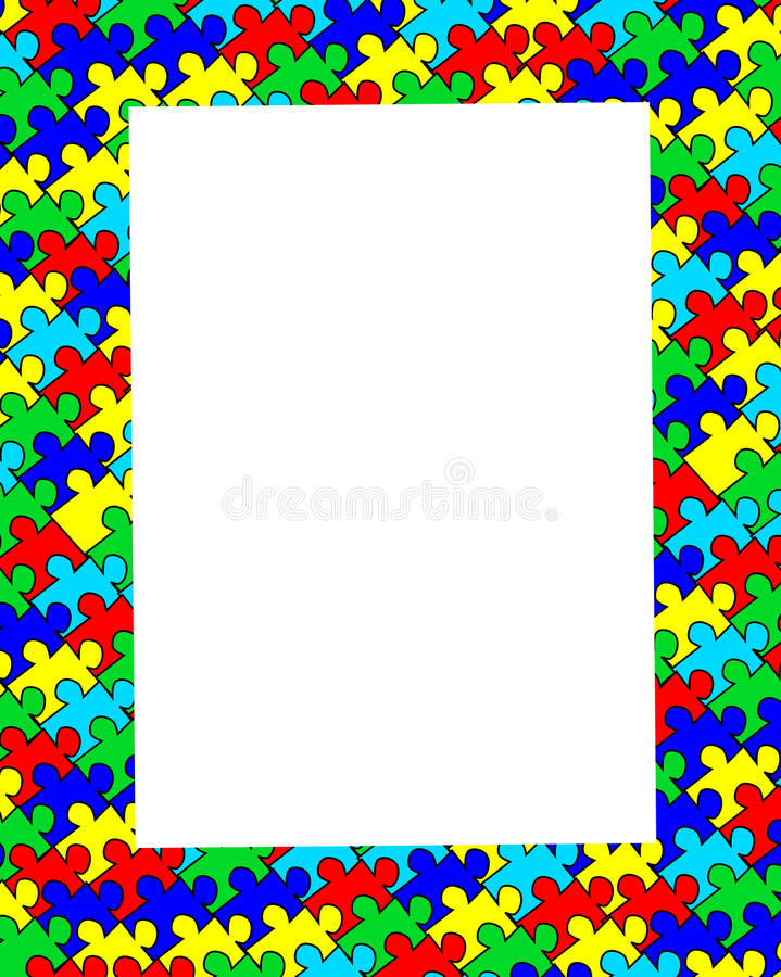 Autism jigsaw border frame stock illustration. Illustration of ...