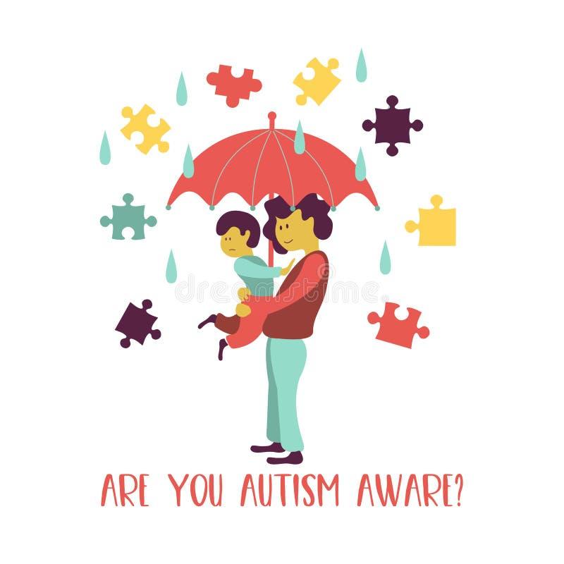 autism L'emblème du syndrome de l'autisme chez les enfants Childr illustration libre de droits