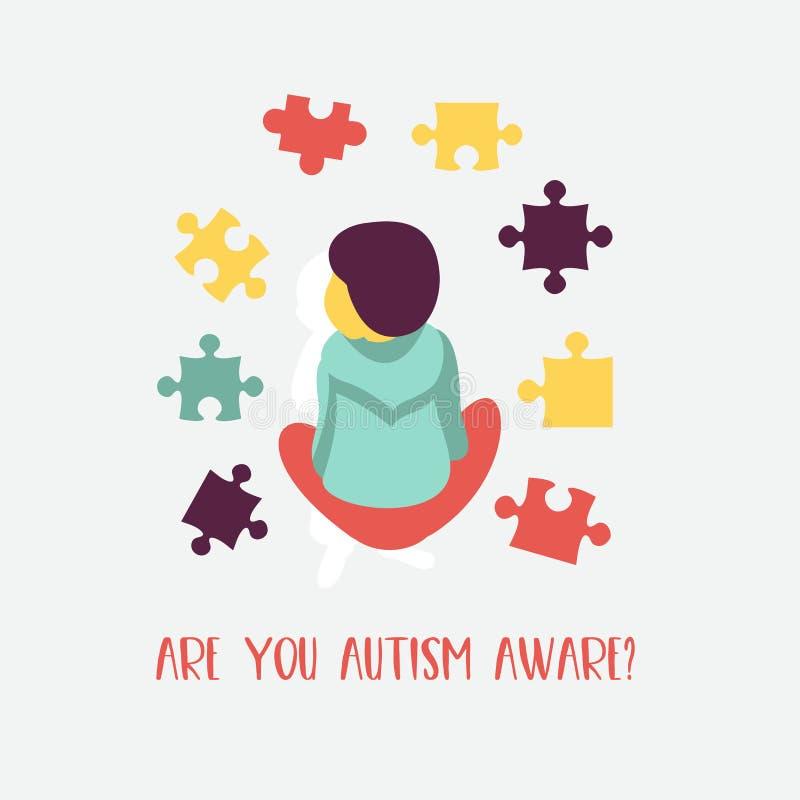 autism L'emblema della sindrome di autismo in bambini Childr illustrazione di stock