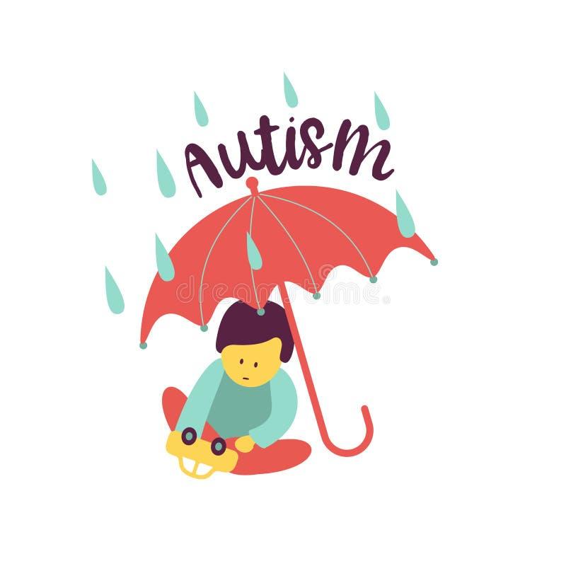autism L'emblema della sindrome di autismo in bambini Childr royalty illustrazione gratis