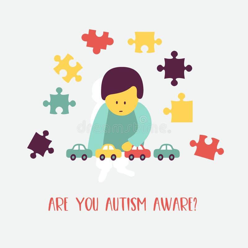 autism O emblema da síndrome do autismo nas crianças Childr ilustração stock
