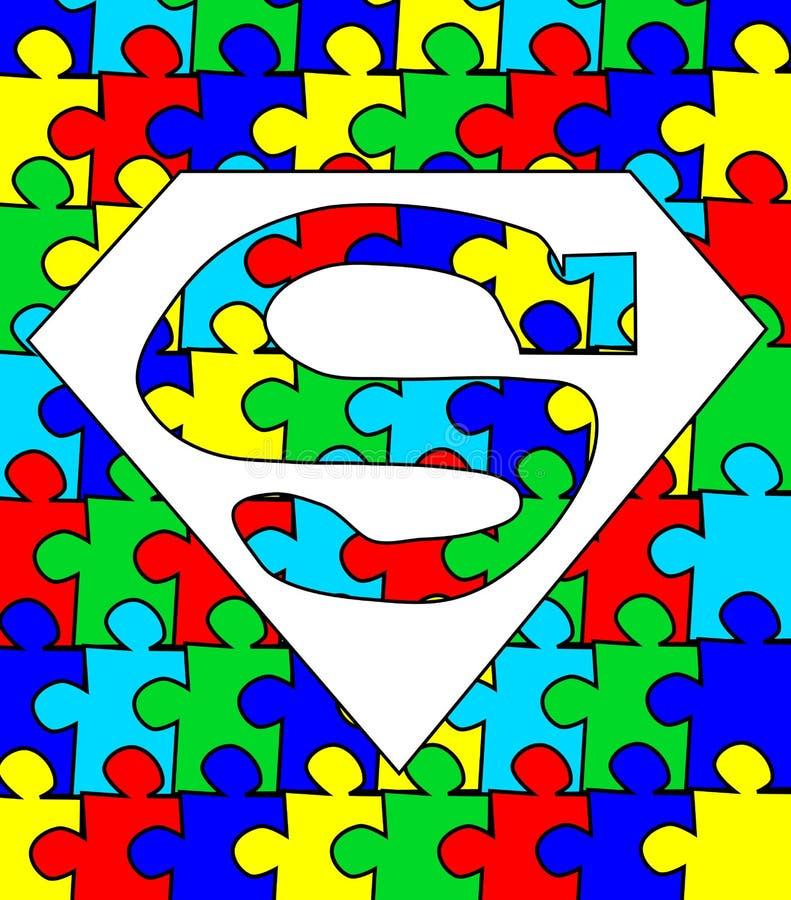 Autism puzzle superman stock illustration