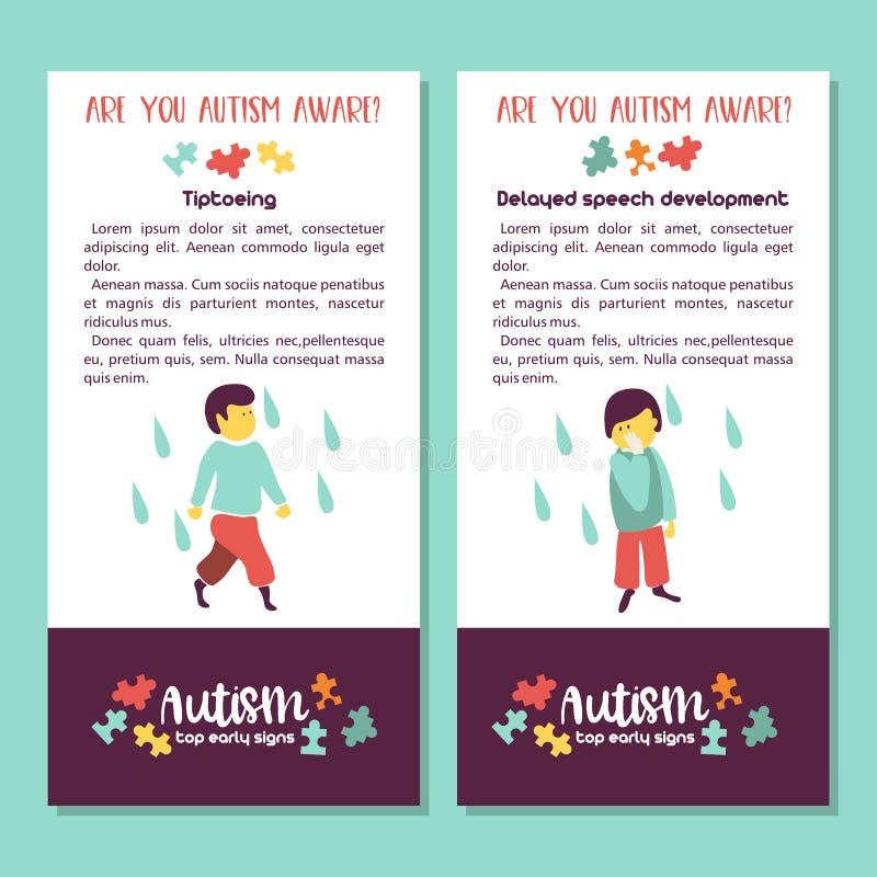 autism Segni in anticipo della sindrome di autismo in bambini Illus di vettore royalty illustrazione gratis