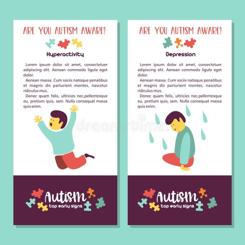 autism Signes tôt de syndrome d'autisme chez les enfants Illus de vecteur illustration libre de droits