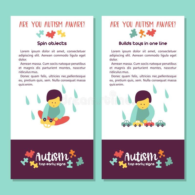 autism Signes tôt de syndrome d'autisme chez les enfants Illus de vecteur illustration stock