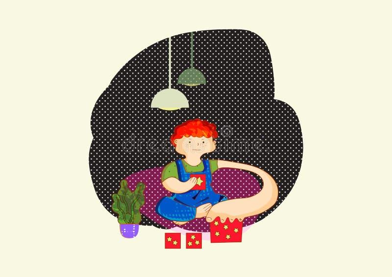 autism Sinais adiantados da síndrome do autismo nas crianças Sinais e sintomas do autismo em uma criança Brincadeira com brinqued ilustração do vetor