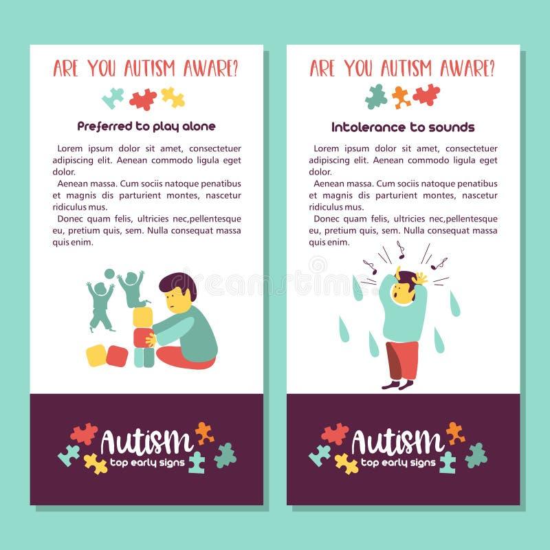 autism Sinais adiantados da síndrome do autismo nas crianças Illus do vetor ilustração stock