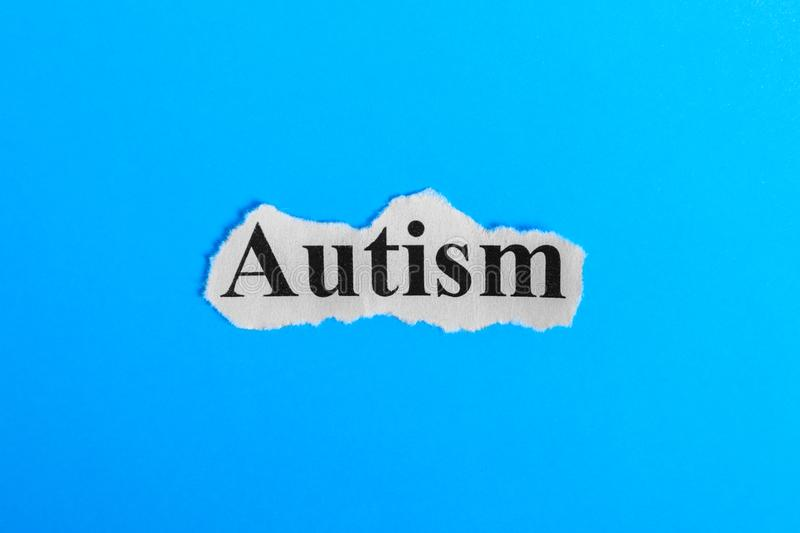 autism text on paper. Word autism on a piece of paper. Concept Image. autism Syndrome stock photos