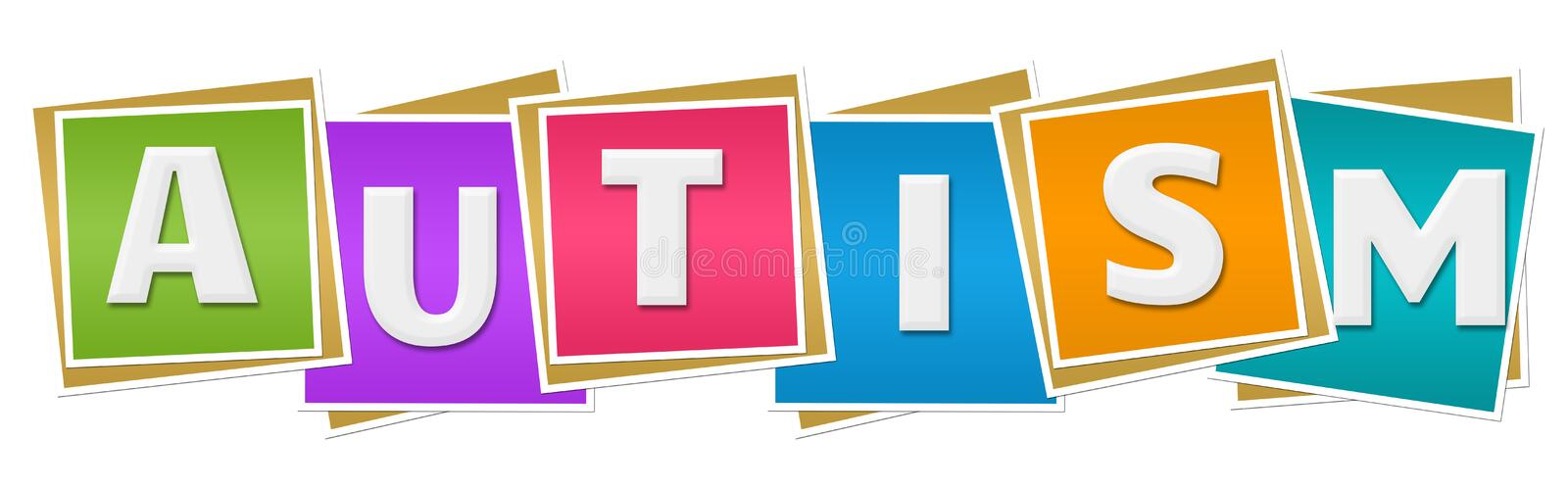 Autism Colorful Blocks. Autism text written over colorful background stock illustration