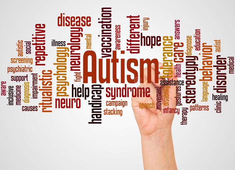 Autism word cloud and hand with marker concept royalty free illustration