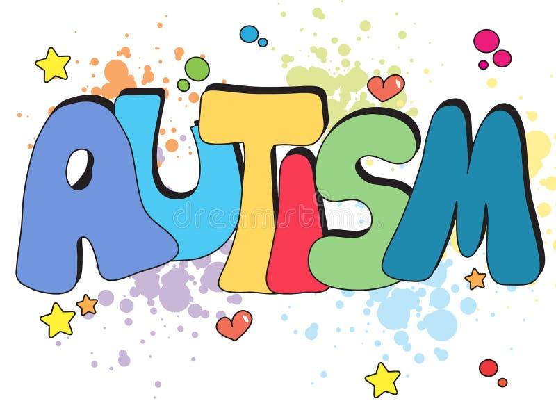 Autism written illustration. Illustration of autism written with stars royalty free illustration