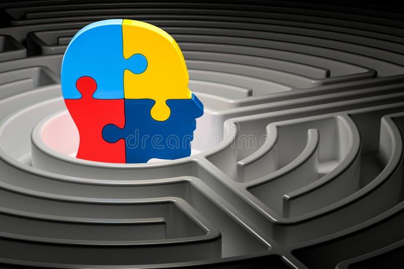 Autismbegrepp, mänskligt huvud från pussel på mitten av en labyrint 3d vektor illustrationer